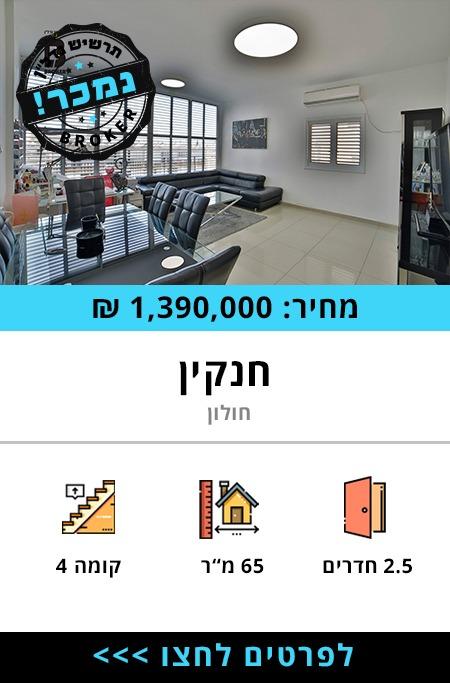 """דירה למכירה ברחוב חנקין - תרשיש נדל""""ן"""